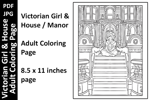 Victorian Girl & House Adult Colo Page Graphic Coloring Pages & Books Adults By Oxyp