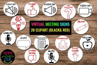 Virtual Classroom Meeting Signs Clipart Graphic Teaching Materials By Happy Printables Club