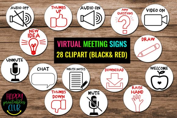 Print on Demand: Virtual Classroom Meeting Signs Clipart Gráfico Material educativo Por Happy Printables Club
