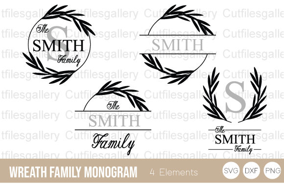 Wreath Family Monogram   Graphic Crafts By cutfilesgallery