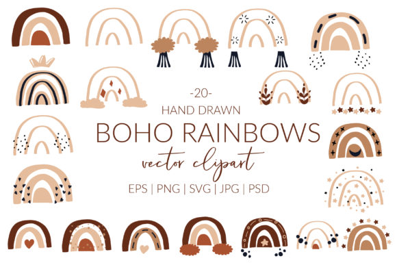 Boho Rainbow Svg Cricut. Rainbow Svg. Grafik Illustrationen von cyrilliclettering