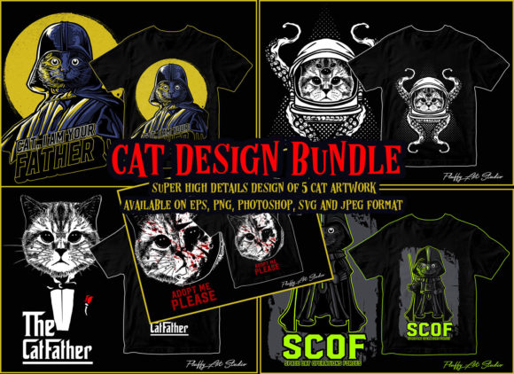 Print on Demand: Cat Design Bundle Graphic Illustrations By fluffyartstudio