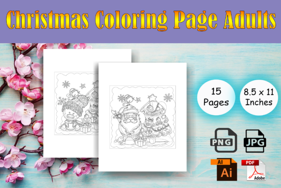 Print on Demand: Christmas Coloring Page Adults - KDP Graphic Coloring Pages & Books Adults By Sei Ripan - Image 1