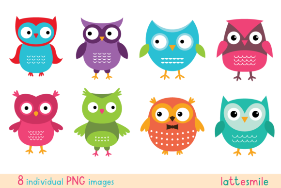 Cute Owls, PNG Images Graphic Illustrations By lattesmile