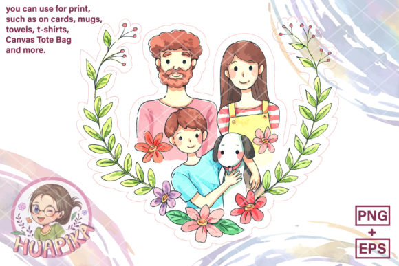 Print on Demand: Happy Family Cartoon Illustration Graphic Illustrations By huapika