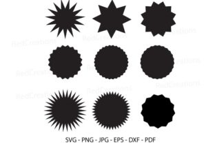 Label Clipart, Starburst Svg, Cut File Graphic Crafts By RedCreations