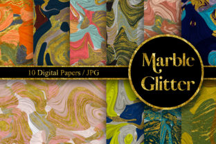 Print on Demand: Marble Glitter Seamless Pattern Graphic Backgrounds By PinkPearly