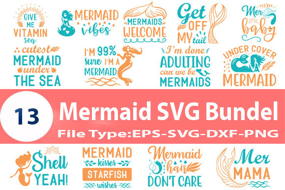 Print on Demand: Mermaid Quotes SVG Design Bundle Graphic Print Templates By Design Store