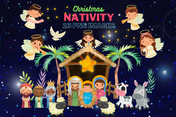 Nativity Clipart, Religious Illustration Graphic Illustrations By Artsy Pantsy
