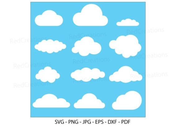 Set of Clouds, Clouds on Blue Background Graphic Crafts By RedCreations