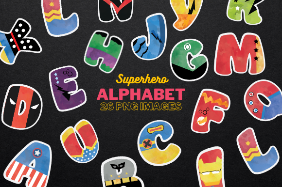 Superhero Alphabet Clipart Graphic Illustrations By Artsy Pantsy