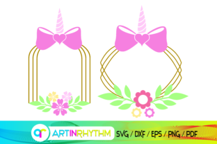 Unicorn Wreath, Unicorn Frame Graphic Crafts By artinrhythm