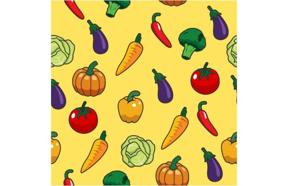 Vegetables Seamless Pattern. Graphic Backgrounds By etinurhayati0586