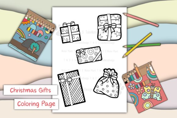 Christmas Gifts Graphic Coloring Pages & Books Kids By TakeNoteDesign