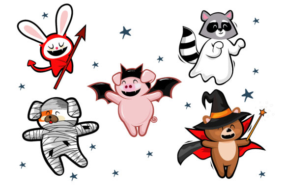 Cute Animals in Halloween Costumes Night Graphic Illustrations By onoborgol