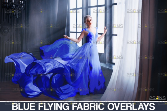 163 Blue Fabric Flying Dress Overlay Graphic Actions & Presets By 2SUNS