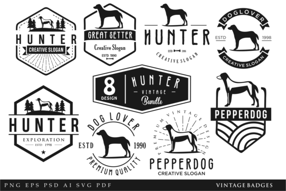 Print on Demand: 8 Dog Vintage Badges and Logos Retro Graphic Logos By blueberry 99d