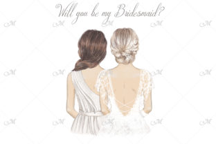 Blonde Bride W/Bridesmaids Illustration Graphic Illustrations By MaddyZ