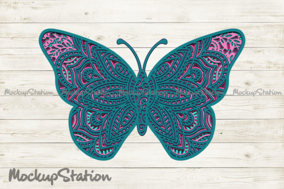 Print on Demand: Butterfly 3D Mandala SVG, Layered DXF Graphic 3D SVG By Mockup Station