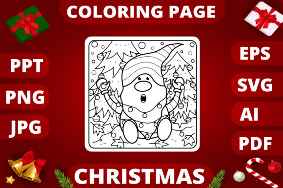 Print on Demand: Christmas Coloring Page for Kids #1 Graphic Coloring Pages & Books Kids By MikeToon Studio