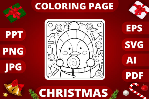 Print on Demand: Christmas Coloring Page for Kids #10 Graphic Coloring Pages & Books Kids By MikeToon Studio