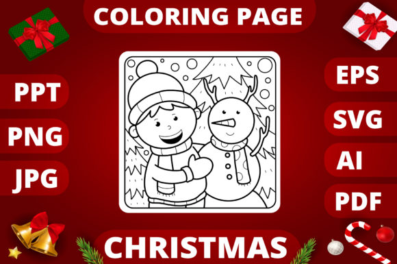 Christmas Coloring Page for Kids #11 Graphic