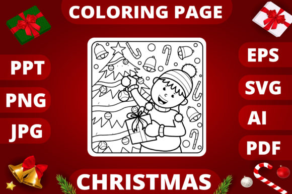 Print on Demand: Christmas Coloring Page for Kids #12 Graphic Coloring Pages & Books Kids By MikeToon Studio