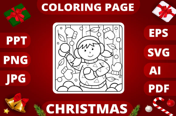 Print on Demand: Christmas Coloring Page for Kids #13 Graphic Coloring Pages & Books Kids By MikeToon Studio