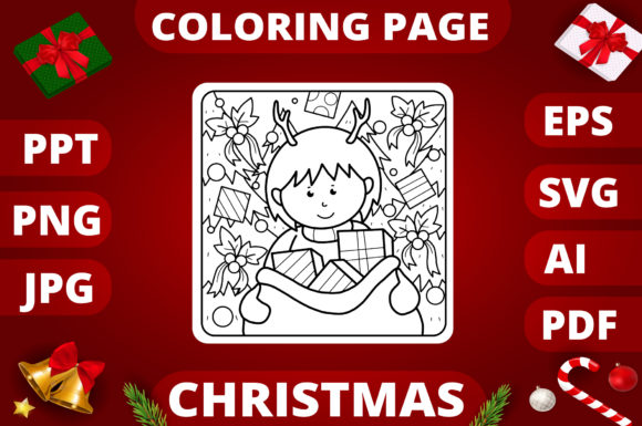 Print on Demand: Christmas Coloring Page for Kids #14 Graphic Coloring Pages & Books Kids By MikeToon Studio