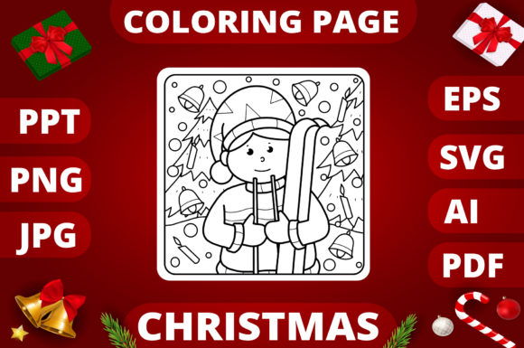 Print on Demand: Christmas Coloring Page for Kids #15 Graphic Coloring Pages & Books Kids By MikeToon Studio
