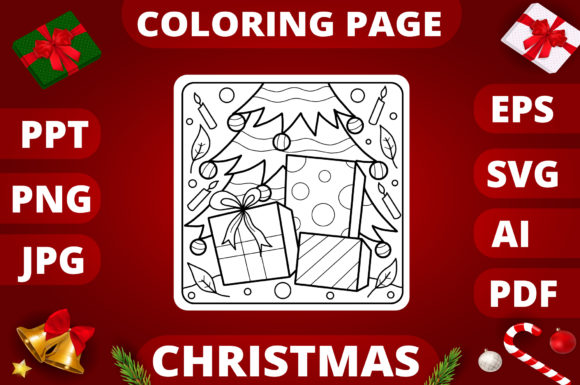 Christmas Coloring Page for Kids #17 Graphic