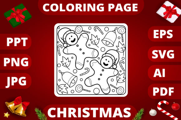Christmas Coloring Page for Kids #18 Graphic