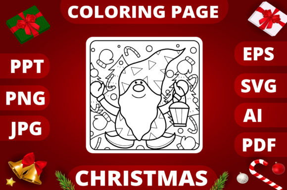 Print on Demand: Christmas Coloring Page for Kids #2 Graphic Coloring Pages & Books Kids By MikeToon Studio
