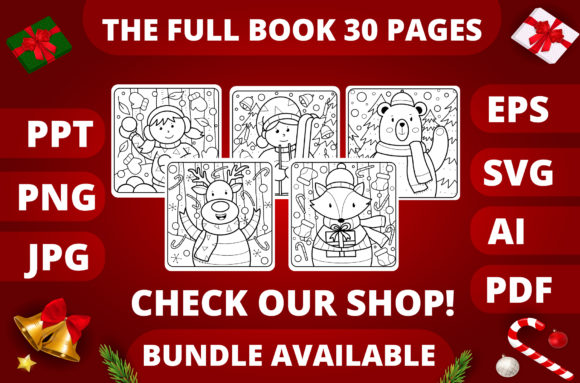 Christmas Coloring Page for Kids #2 Graphic Item