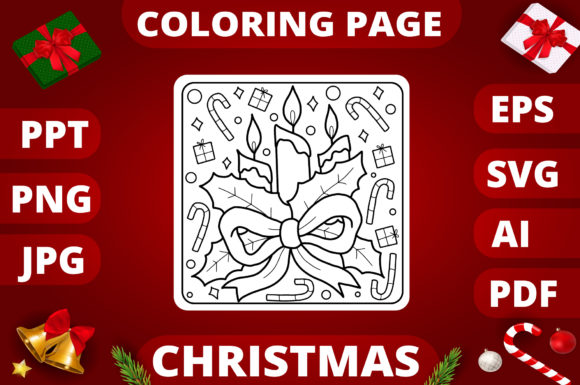 Christmas Coloring Page for Kids #20 Graphic