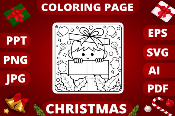 Christmas Coloring Page for Kids #21 Graphic