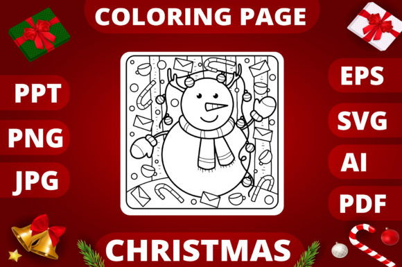 Christmas Coloring Page for Kids #23 Graphic