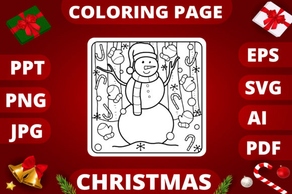 Print on Demand: Christmas Coloring Page for Kids #25 Graphic Coloring Pages & Books Kids By MikeToon Studio