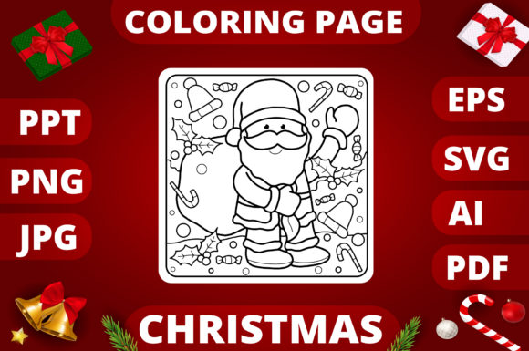Print on Demand: Christmas Coloring Page for Kids #26 Graphic Coloring Pages & Books Kids By MikeToon Studio
