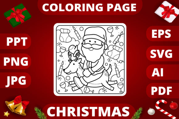 Print on Demand: Christmas Coloring Page for Kids #28 Graphic Coloring Pages & Books Kids By MikeToon Studio