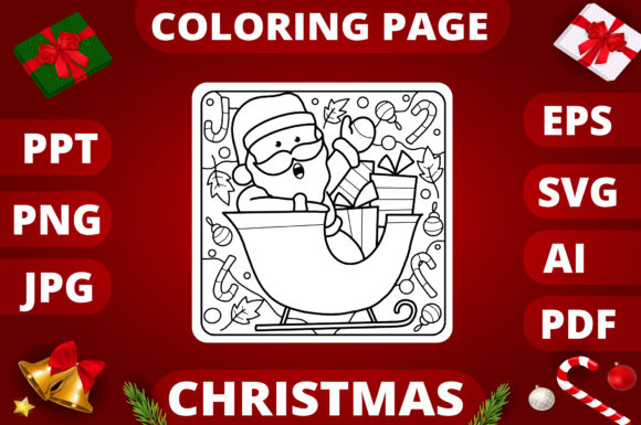 Print on Demand: Christmas Coloring Page for Kids #29 Graphic Coloring Pages & Books Kids By MikeToon Studio