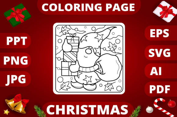 Print on Demand: Christmas Coloring Page for Kids #3 Graphic Coloring Pages & Books Kids By MikeToon Studio