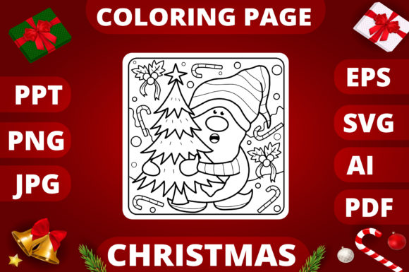 Print on Demand: Christmas Coloring Page for Kids #5 Graphic Coloring Pages & Books Kids By MikeToon Studio