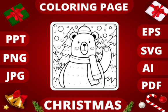 Christmas Coloring Page for Kids #6 Graphic