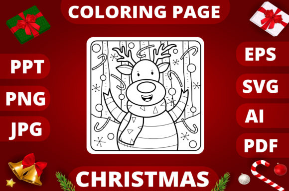 Print on Demand: Christmas Coloring Page for Kids #7 Graphic Coloring Pages & Books Kids By MikeToon Studio