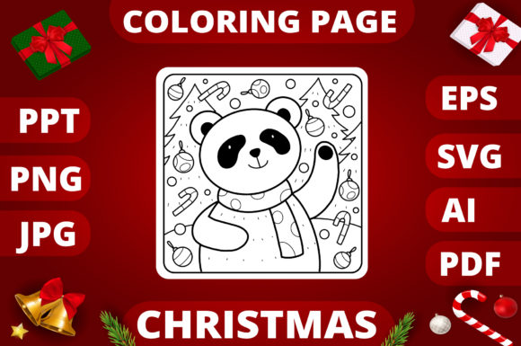 Print on Demand: Christmas Coloring Page for Kids #8 Graphic Coloring Pages & Books Kids By MikeToon Studio