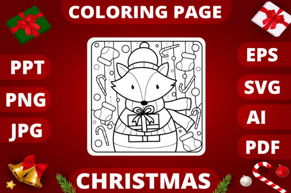 Print on Demand: Christmas Coloring Page for Kids #9 Graphic Coloring Pages & Books Kids By MikeToon Studio