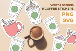 Print on Demand: Coffee Tea Cups Mugs Stickers Design KIT Graphic Illustrations By Inkclouddesign
