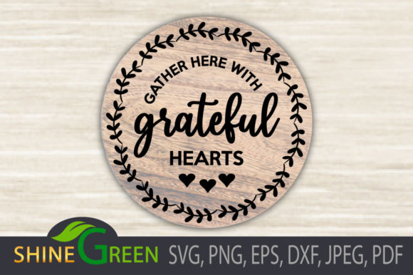 Print on Demand: Fall - Gather with Grateful Hearts Sign Graphic Crafts By ShineGreenArt