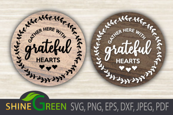 Fall - Gather with Grateful Hearts Sign Graphic Download